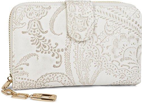 Weiße Clutch Wallet (styleBREAKER Geldbörse mit Paisley Blumen Blüten Prägung, umlaufender Reißverschluss, Portemonnaie, Damen 02040098, Farbe:Weiß)