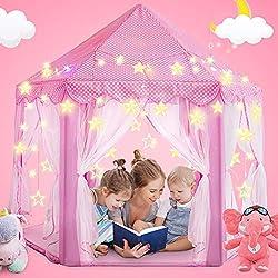 Tente Enfants, D'intérieur et d'extérieur Hexagonale Fée Château de Princesse Tente de Jeu, Maison pour Tentes comme pour Filles et Garçons - Petites Lumières LED étaient fournies