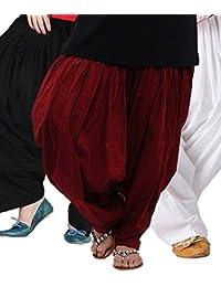 Black macy Women's Cotton Patiala Salwar Combo (_Black, Maroon and White_Free Size)