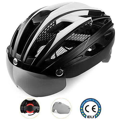 Casco Bici con Luce di LED,Certificato CE, Casco con Visiera Magnetica Staccabile Shield Casco da Bici Super Leggero Casco integralmente Adulto da Bicicletta Skateboarding Sci & Snowboard