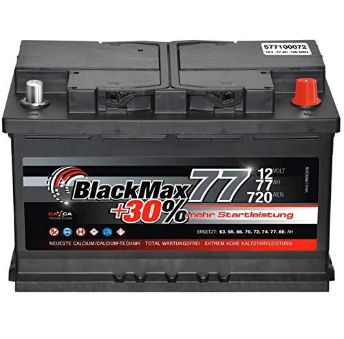 Autobatterie 12V 77Ah BlackMax Starterbatterie ersetzt 65Ah 70Ah 72Ah 74Ah 75Ah