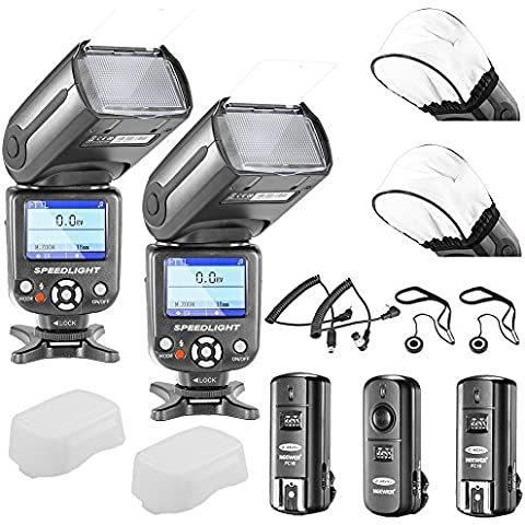 Neewer® NW-985N i-TTL 4-Color TFT Pantalla * Alta velocidad de sincronización * Kit de Esclavo flash Speedlite para Nikon D3S D50 D60 D70 D70S D80 D80S D200 D300 D300S D700 D3000 D3100 D5000 D5100 D7000 y Otras nikon DSLR Cámaras, incluye (2)NW985N i-TTL Flash + (1)2.4GHz inalámbrico disparador (1 Transmisor, 2 receptores) + (2)Cables (C1-Cord + C3-Cord) + (2)Difusor de flash + (2)Soprte de tapa del