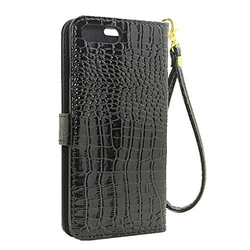KaiTelin Apple iPhone 7 Case - Fashion Krokodil Korn Schlag Fall Abdeckung für Apple iPhone 7 - Weiß Schwarz