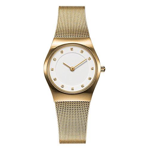 ede3409ce55e Bering Classic - Reloj analógico de mujer de cuarzo con correa de acero  inoxidable dorada -