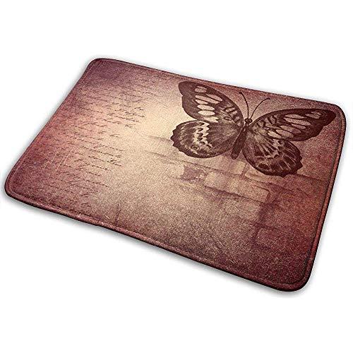 Nice-Guy Brauner roter Schmetterling und Musik-Badematte-Rutschfester Haustür-Matten-Badezimmer-Wollteppich für inneres im Freien 15.7x23.5 Zoll