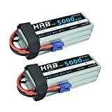 HRB 2pack LiPo Akku Pack 5000mAh 22.2V 50C 6S für FPV Racing Quadcopters Diverse Racing Cars Helikopter Flugzeuge und Modellboote (EC5 Stecker)
