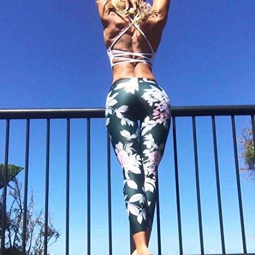 Pantalons Athlétiques, Ineternet Camouflage Femmes Taille Pantalon de Sport Haute Fitness Yoga Patchwork en maille Stretch Recadrée Leggings Vert (Fleur)