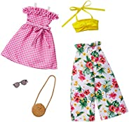 Barbie Fashions 2-Pack Clothing Set, 2 Outfits Doll Include Floral Wide-Legged Pants, a Yellow Bandeau Top, Pi