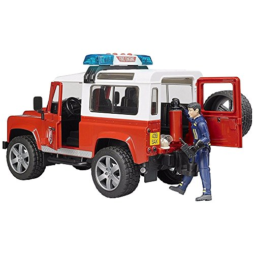 """Image of Bruder 2596 """"Land Rover Station Wagon Fire"""" Department Vehicle Toy with Fireman"""