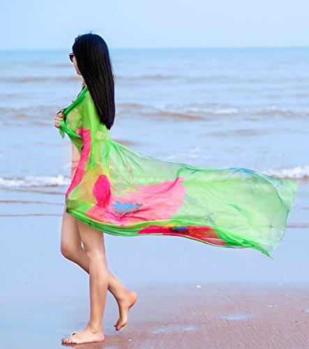 DAMILY Strandkleider Damen Blumen Muster Lange Sommerkleider Grün