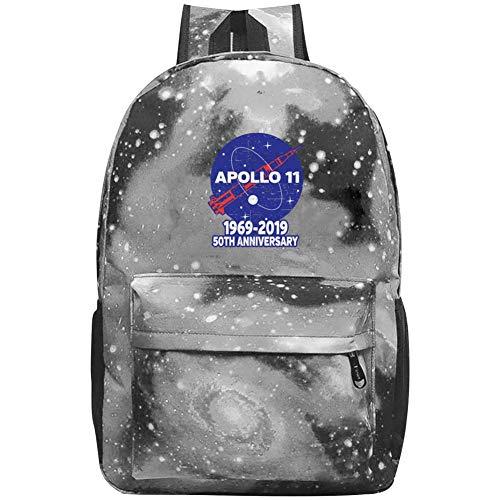 XKYZTKB Apollo 11 50th Anniversary NASA Moon Landing Logo Reise Laptop Rucksack Galaxy Muster Schultasche, grau, Einheitsgröße