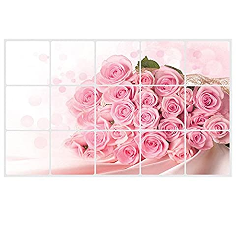 Wall Sticker - SODIAL(R) Pink Rose Wall Decal for kitchens