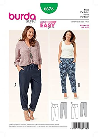 Burda Ladies Easy Sewing Pattern 6678 Tapered Leg Casual Pants by Burda