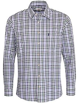 Almsach Trachtenhemd Beppo Regular Fit Mehrfarbig in Hellblau und Dunkelgrün Inklusive Volksfestfinder