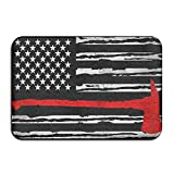 SDFGSE Thin Red Line Firefighter Distressed American Flag Doormats