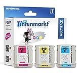 Tintenmarkt recycelte Originalpatrone ersetzt HP C4906AE 3 x 20 ml c, m, y