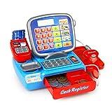 Delicacydex Il calcolatore elettronico dei giocattoli del registratore di cassa dei bambini con le monete finta cassiere che impara i giocattoli di prima educazione del giocattolo del gioco
