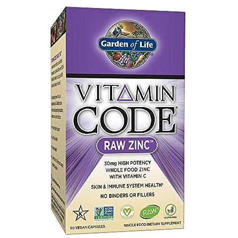 Garden of Life Vegan Zinc - Vitamin Code Raw Zinc Whole Food Supplement with Vitamin C, 60 Capsules