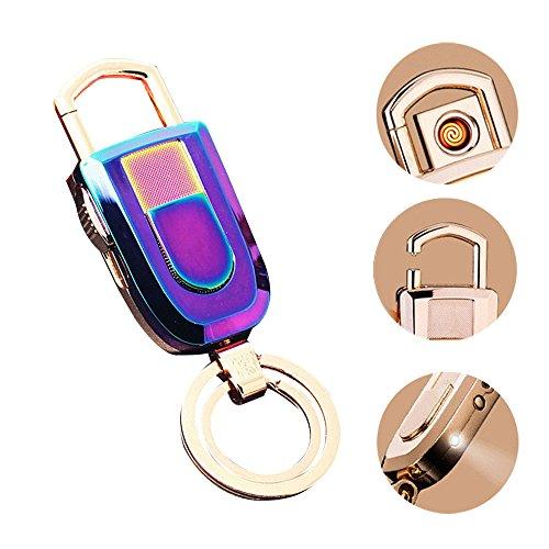 Pawaca - Llavero con mechero, Resistente al Viento, Linterna LED, 2 llaveros 3 en 1, Llavero, Ligero y Recargable por USB, Gran Idea de Regalo Gefärbt