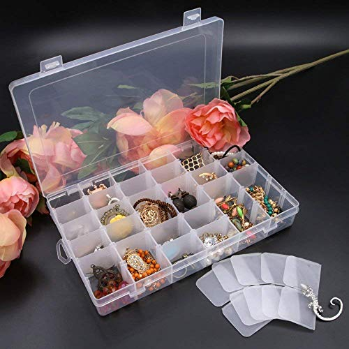 Xectes 36 Grid Transparent Plastic Storage Box with Removable Dividers for Storing Various Items