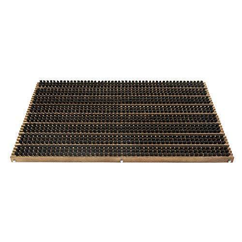 NATUREHOME Fußabtreter Fußmatte Schmutzfangmatte Holz 59x38,5x2 cm - Schuhabstreicher Türvorleger mit schwarzen Naturborsten und formschönen Rahmen aus Buche Walnuss geölt
