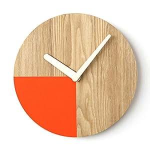 Orologio al Quarzo Analogico in Legno di Frassino Fatto a Mano Silenzioso Senza Ticchettio a Forma di Quarto di Cerchio Design Minimalista Arancione Orologio a Muro Arte Deco Decorazione della Casa