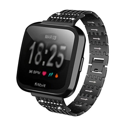 Para Fitbit Versa Links para 2018Fitbit de metal pulsera de correa de muñeca de acero inoxidable correa de metal, cristal de repuesto Bling-Bling Smartwatch accesorios, negro