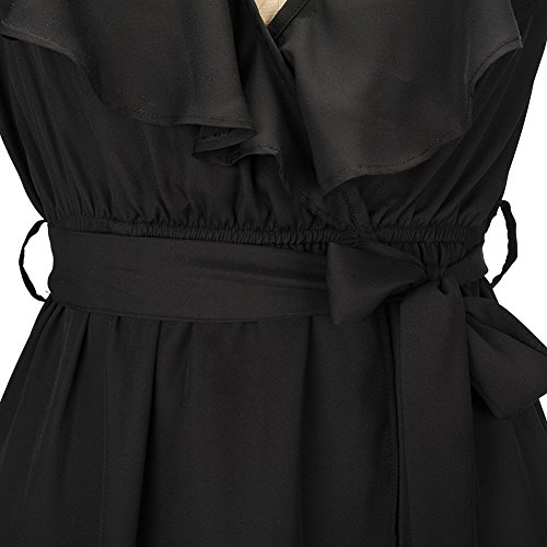 Col en V Robe de Cocktail IHRKleid® 1950's pois Boutonni Retro Swing Robe de Soirée Noir