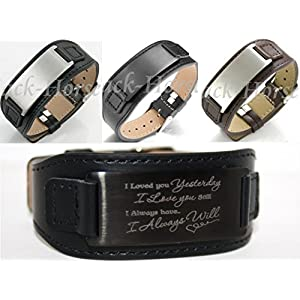 aplusashop ID Leder Armband mit Edelstahlplatte inkl. Gravur nach Wunsch in 3 Farben + Box