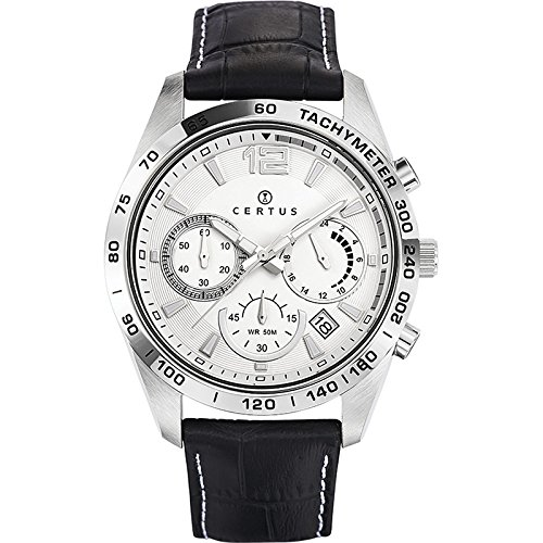 Certus 613167 - Reloj de pulsera hombre, piel, color negro