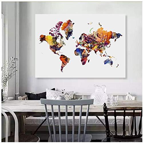 Chaoaihekele Abstracto Acuarela Mapa Mundo Viaje Arte