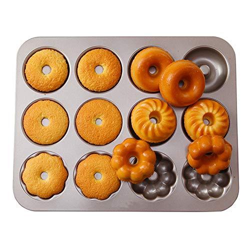 LXAGM 12 Cup Mini Runde Torte Cheesecake Pan - DIY Schokolade Backform Form Mold - Antihaft Pie Quiche Backform - Metall Muffin Tablett -
