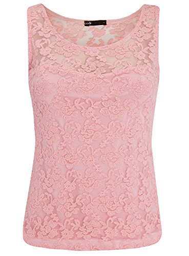 oodji Ultra Donna Top Aderente in Pizzo Rosa (4000N)