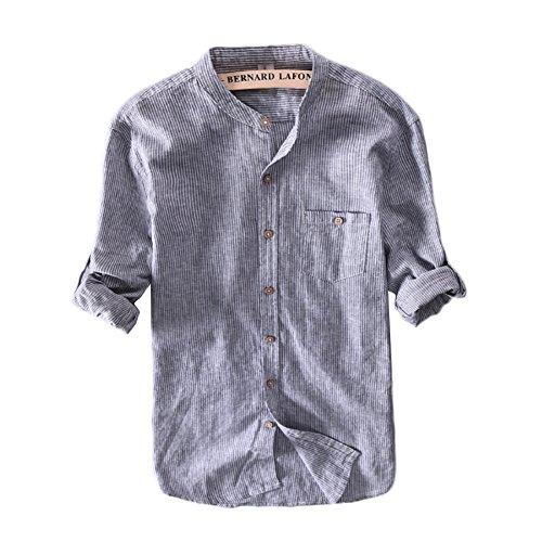 Icegrey Herren Leinen Hemden Beiläufig Langarm Stehkragen Gestreift Leinen Shirts Strand Hemden Blau EU L (Leinen-button-down-shirt)