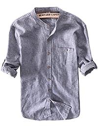 54d3e4e7de5a90 Icegrey Camisa Casual - con Botones - Rayas - Cuello Mao - Manga Larga -  para