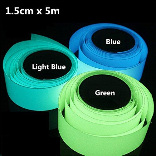 Aliciashouse 5mx15mm leuchtende Band selbstklebende grün blau Glühen In der dunklen Sicherheit Bühne Home Decor-hellblau (Dunklen In Glühen Der)