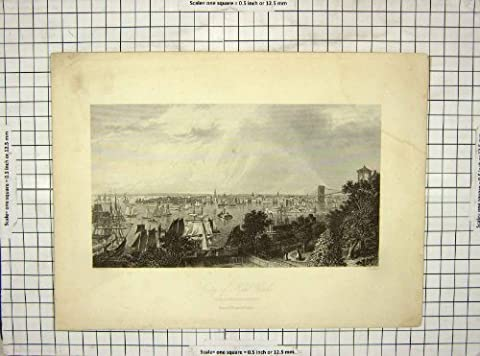 Antique Print C1850 Hall Warren View City New York Brooklyn Heights 116G248
