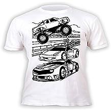 Splat Planet Camiseta COCHES para niños. Con impresión para pintar y colorear. Incluye 6