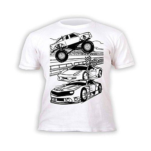 Kinder T-Shirt Jungen Autos. Zum Bemalen und Ausmalen mit Vordruck. Mitgeliefert 6 auswaschbare Magic - Malstifte. Kindergeburtstag 9-11 Jahre