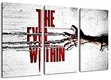 the evil within 2014 game 3-Teilig(120x80cm) auf Leinwand, XXL riesige Bilder fertig gerahmt mit Keilrahmen, Kunstdruck auf Wandbild mit Rahmen