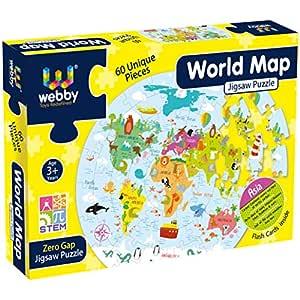 Webby Amazing World Map Jigsaw Floor Puzzle 60 Pcs with 4 Double Sided Flashcards