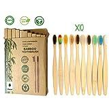 Pack Familial de 10 Brosses à Dents en Bambou Naturel | Ergonomique, Biodégradable, Ecologique et Vegan | Multicolore | Poils Souples en Nylon pour un Brossage Doux | Sans BPA