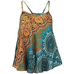 GURU-SHOP, Top Boho con Tirantes, Top Verano, Top Mujer, Top Playa, Naranja Oxidado, Sintético, Tamaño:40, Camisetas, Camisetas, Camisetas