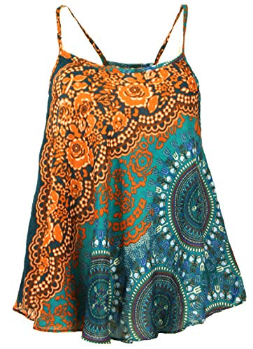 Guru-Shop Boho Trägertop, Sommertop, Damentop, Strandtop, Rostorange, Synthetisch, Size:40, Tops, T-Shirts, Shirts Alternative Bekleidung