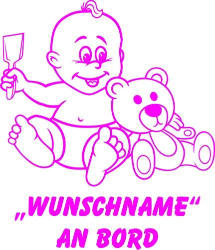 INDIGOS UG - Babyaufkleber / Kinderaufkleber 089 mit Wunschname / Wunschtext an Bord ca. 20 cm Höhe - Autoaufkleber in verschiedenen Farben