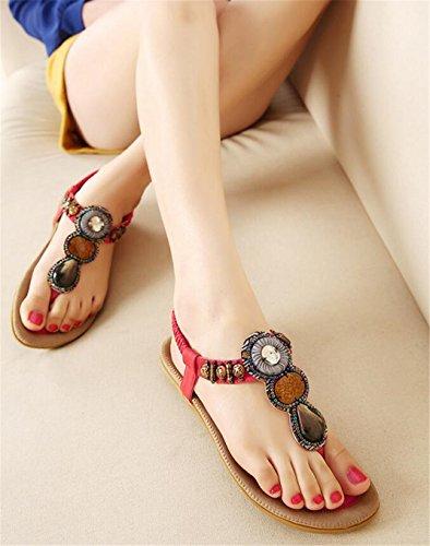 SHUNLIU Damen Sandalen Flach Schuhe mit Strass Flip Flops Römer Damen Sommersandalen T-Strap Rot