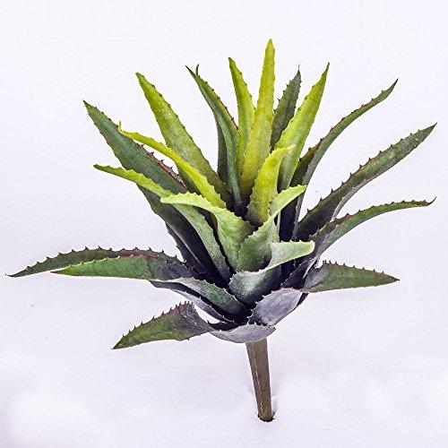 artplants Deko Agave mit 22 Blättern, grün, auf Steckstab, 25 cm – Künstliche Sukkulente/Kunstpflanze