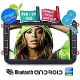 YINUO 2DIN 8 zoll Quad Core 16GB 1024*600 Android 4.4.4 autoradio fš¹r VW Volkswagen Golf /Tiguan / Jetta/Caddy /New Sharan/Passat/Bora /Polo /EOS/Toledo/Superb/Leon/Fabia /Magotan /Yeti /Scirocco/Lavida /Touran /Altea/Roomster/ Rapid /Sagitr / Praktik GPS Navigation mit Bluetooth, Touchscreen, DVD-Player und USB/SD-Funktion, Unterstš¹tzung DVB-T-Box (DVB-HD)