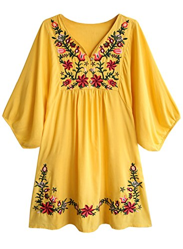 FUTURINO Damen Sommerkleid Bohemian Stickerei Floral Tunika Shirt Bluse Flowy Minikleid (XL, 02 Gelb) (Schickes Blumen-mädchen-kleider Sehr)