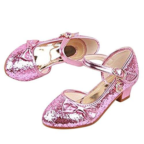 Menina Comunhão Sandálias Sapatos rosa Brinny Reluzente 28 Bombas Salto de 38 Apertados Partido Metade Princesa Sapatos Tamanho Bailarina Sapatos vXw58